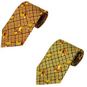Bisley Grouse Patterned Silk Tie