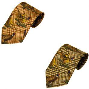 Bisley Large Pheasant Patterned Silk Tie