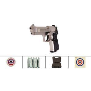 Beretta 92FS CO2, Nickel, Black Grips, Air Pistol Kit