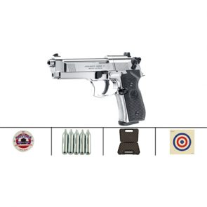 Beretta 92FS CO2, Polished Chrome Black Grips Air Pistol Kit